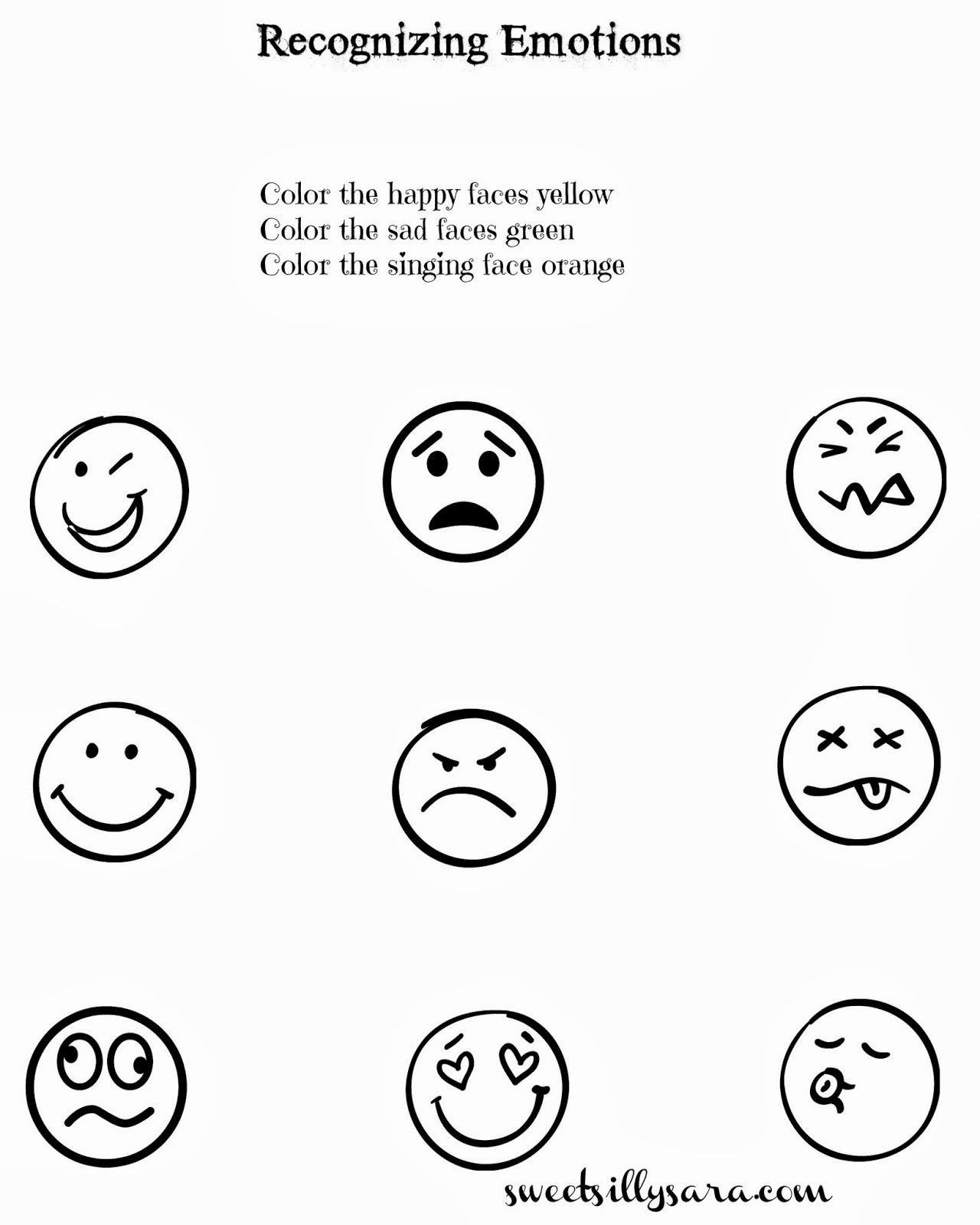 Emotion Worksheets for Preschoolers New Sweet Silly Sara Recognizing Emotions Worksheet