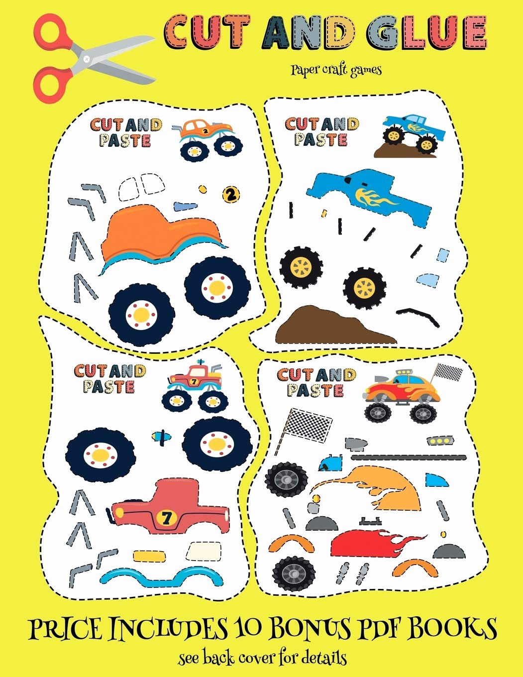 Eye Hand Coordination Activities Worksheets for Preschoolers New Paper Craft Games Cut and Glue Monster Trucks This Book