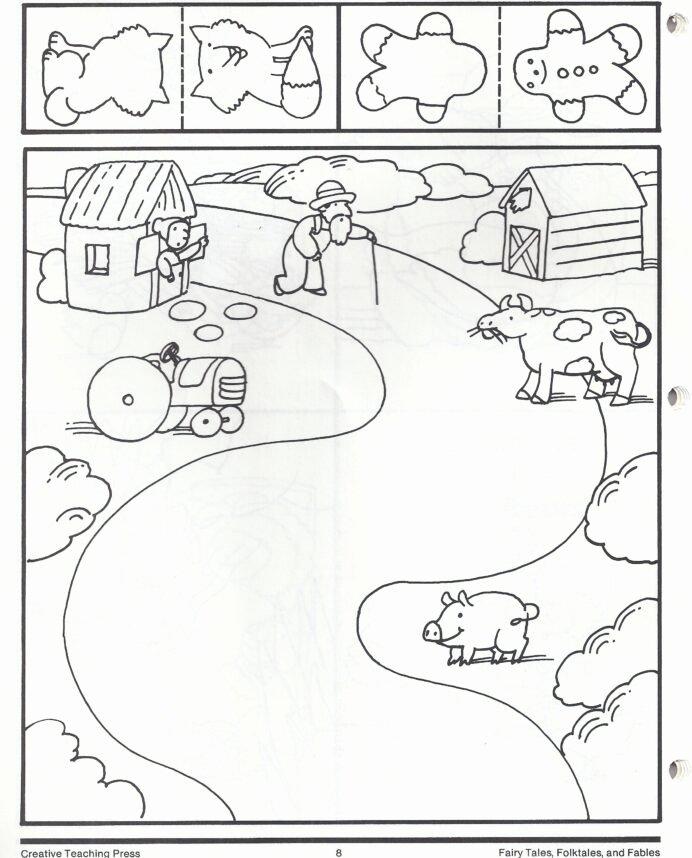 Fairy Tales Worksheets for Preschoolers Inspirational Gingerbread Man Map Fairy Tales Kindergarten Math Test Pdf