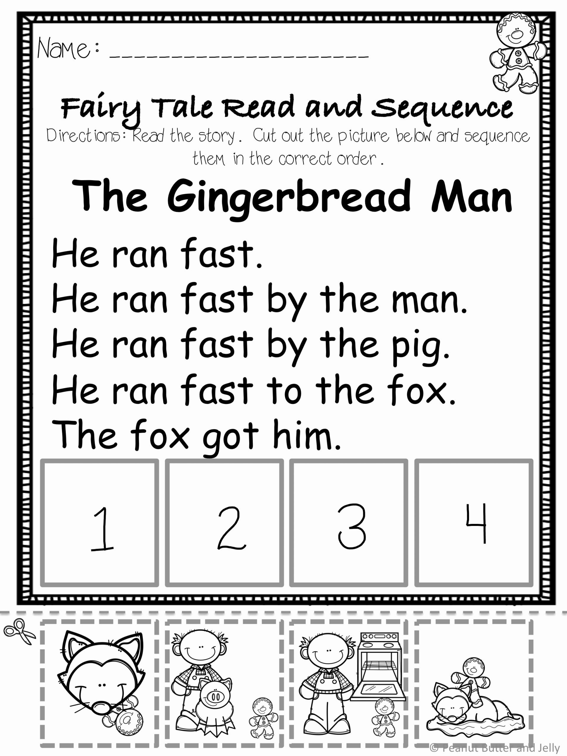 Fairy Tales Worksheets for Preschoolers top the Gingerbread Man A Fairy Tale Prehension Unit