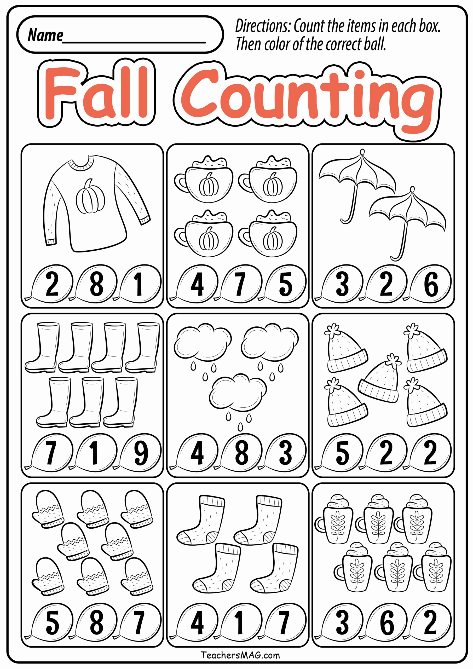 Fall Worksheets for Preschoolers Lovely Preschool Fall Math Worksheets Teachersmag Free Printable