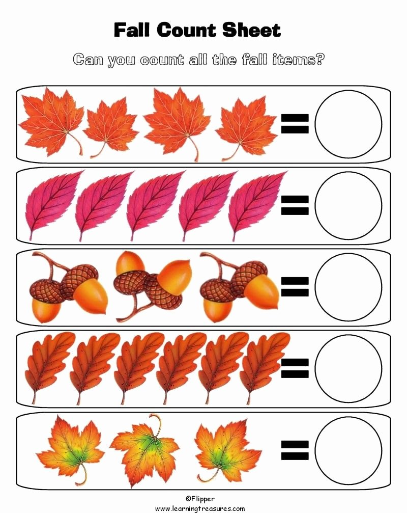 Fall Worksheets for Preschoolers Unique Fall Math Worksheet for Kids