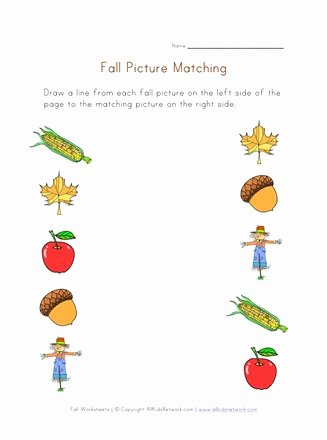 Fall Worksheets for Preschoolers Unique Fall Picture Matching Printable