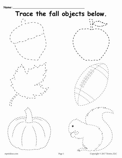 Fall Worksheets for Preschoolers Unique Printable Fall Tracing Worksheet