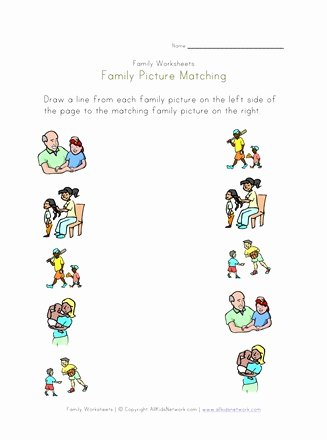 Family Worksheets for Preschoolers Awesome Family Picture Matching Worksheet