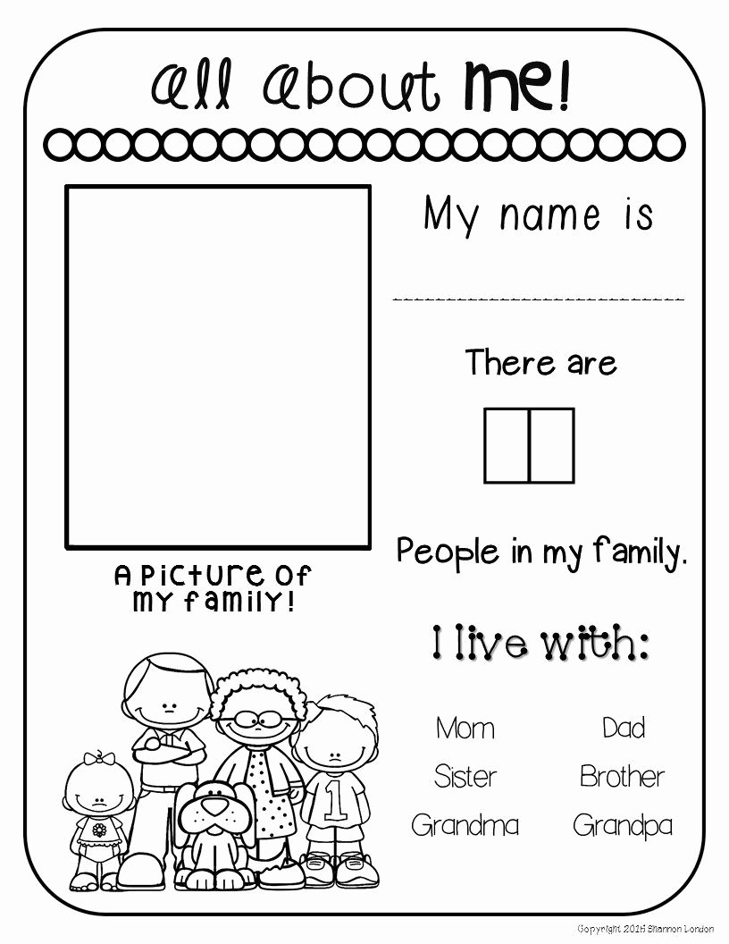 Family Worksheets for Preschoolers New All About My Family Freebie