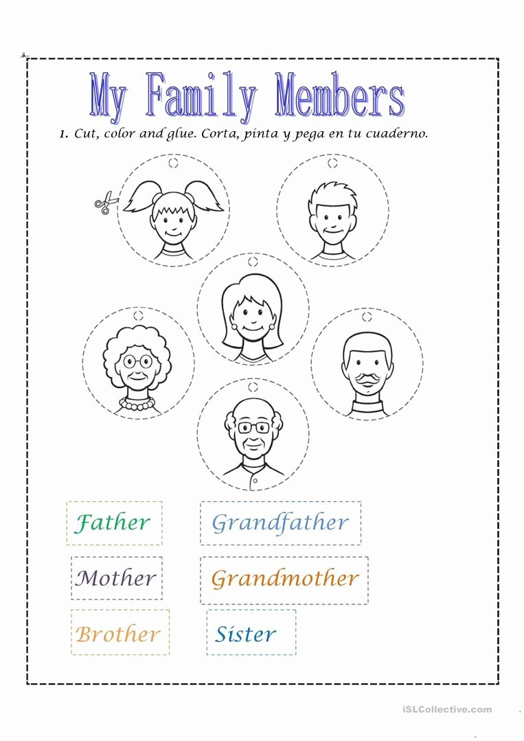 Family Worksheets for Preschoolers New Family Members Worksheet Free Esl Printable Worksheets