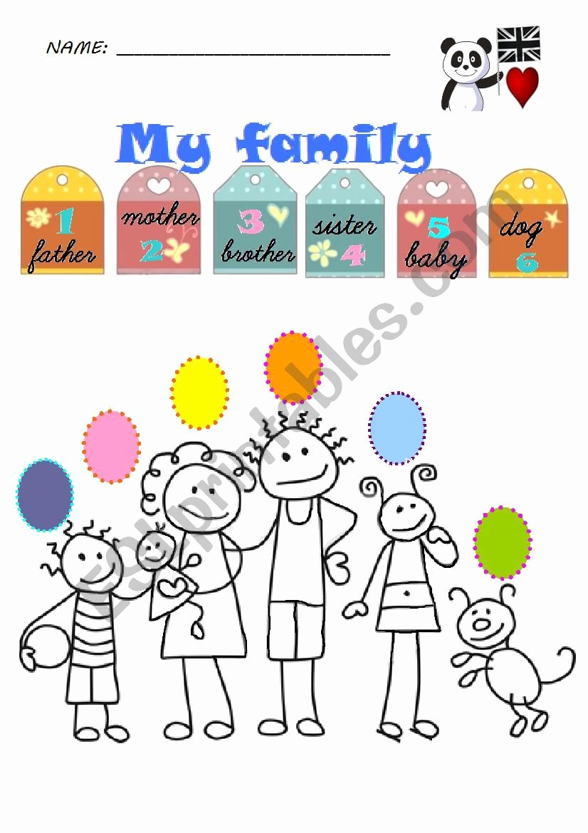 Family Worksheets for Preschoolers Unique Family Members Preschoolers 1st Graders Esl Worksheet by
