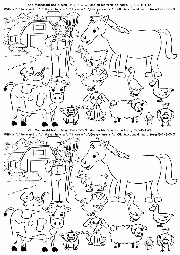 Farm Animal Worksheets for Preschoolers Beautiful English Esl Animals Farm Worksheets Most Ed 144
