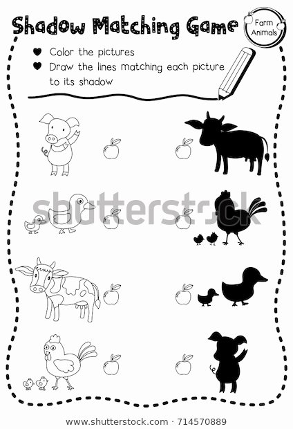 Farm Animal Worksheets for Preschoolers Fresh Shadow Matching Game Farm Animals Preschool Stock