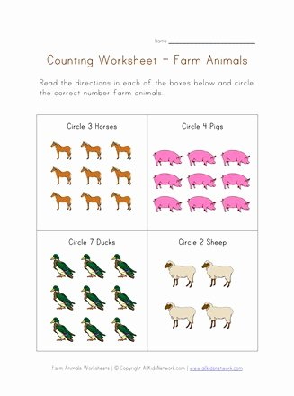 Farm Animal Worksheets for Preschoolers Inspirational Counting Worksheet Farm Animals theme