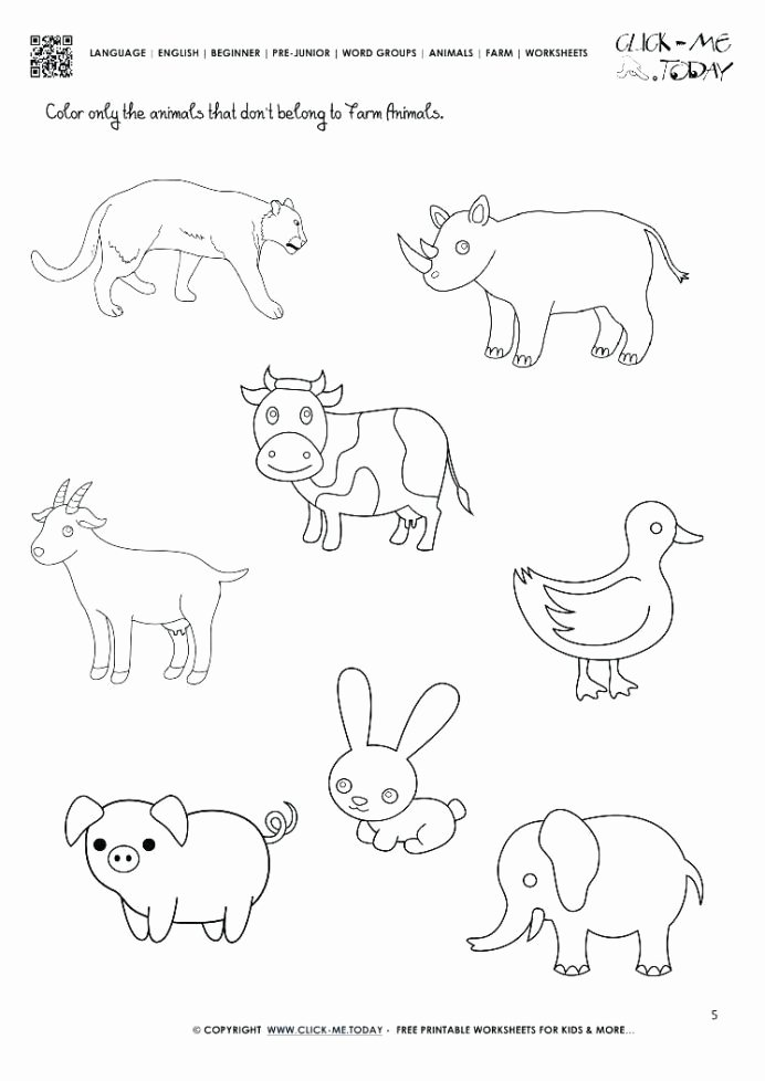 Farm Animal Worksheets for Preschoolers Lovely Farm Animals Worksheets for Kindergarten Worksheets Think