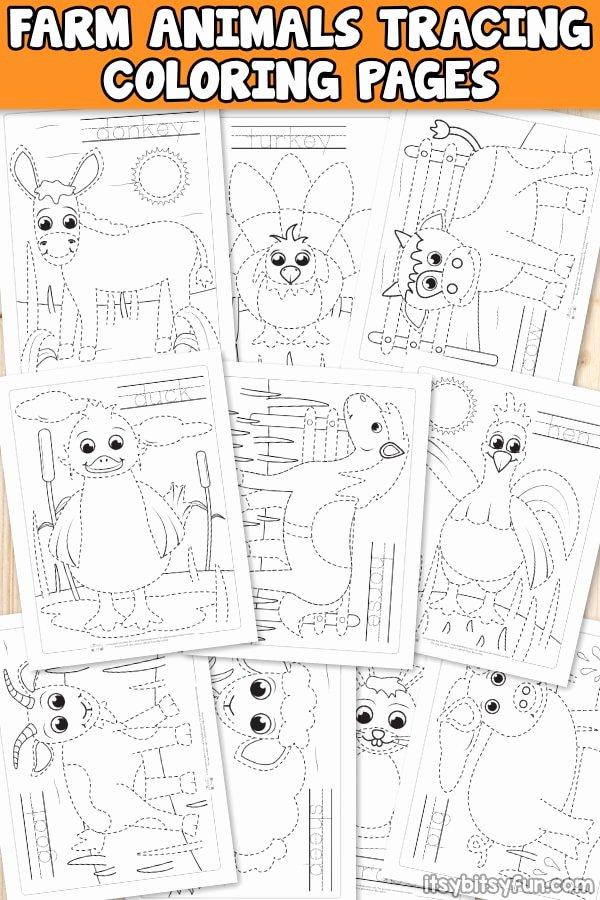 Farm Animals Worksheets for Preschoolers Lovely Farm Animals Tracing Coloring Pages Itsybitsyfun