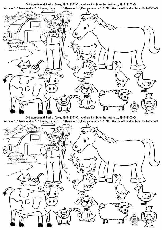 Farm Animals Worksheets for Preschoolers New 112 Kostenlose Esl Farm Animals Arbeitsblätter Animals