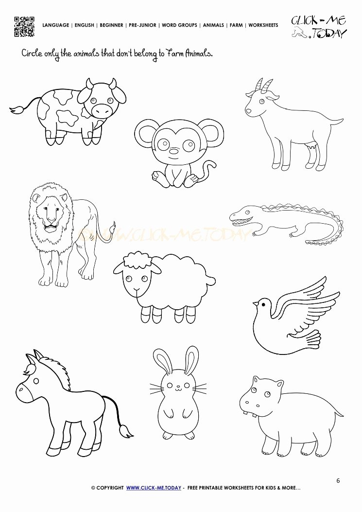 Farm Animals Worksheets for Preschoolers Unique Farm Animals Worksheet Activity Sheet 6