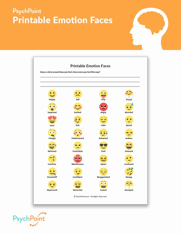 Feelings and Emotions Worksheets for Preschoolers Lovely Printable Emotion Faces Worksheet