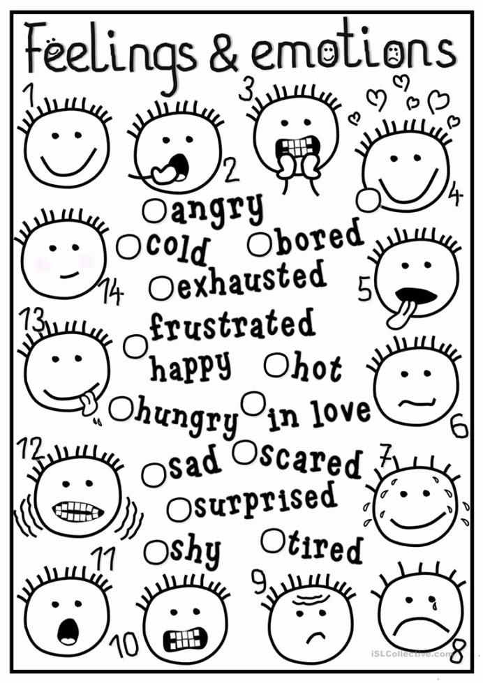 Feelings and Emotions Worksheets for Preschoolers Unique English Esl Feelings and Emotions Worksheets Most Downloaded