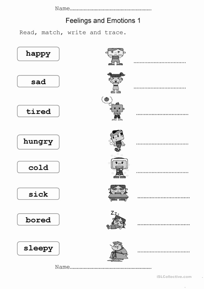 Feelings Worksheets for Preschoolers Unique Feelings and Emotions English Esl Worksheets for Distance