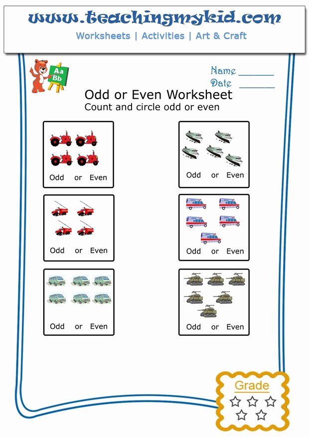 Few and Many Worksheets for Preschoolers Inspirational Math Work Count & Circle Odd or even Worksheet 9