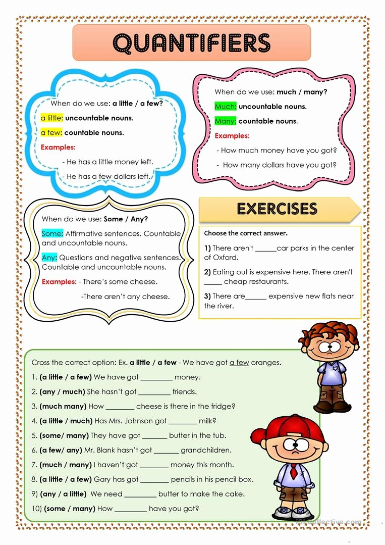 Few and Many Worksheets for Preschoolers Inspirational Quantifiers some Any Little Few Much English In Worksheets