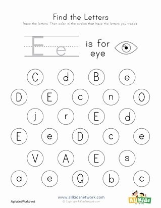 Find the Letter Worksheets for Preschoolers Awesome Find the Letter E Worksheet