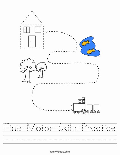 Fine Motor Skills Worksheets for Preschoolers Awesome Fine Motor Skills Practice Worksheet Twisty Noodle