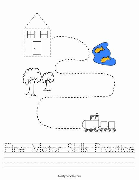 Fine Motor Skills Worksheets for Preschoolers Awesome Fine Motor Skills Practice Worksheet Twisty Noodle
