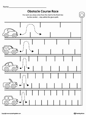 Fine Motor Skills Worksheets for Preschoolers Awesome Line Tracing Obstacle Course Race Worksheet
