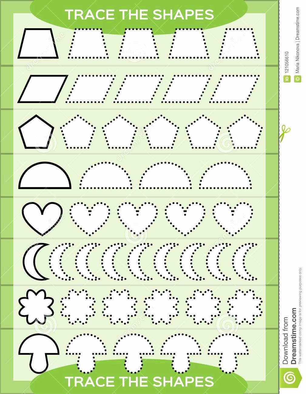 Fine Motor Skills Worksheets for Preschoolers Beautiful Trace the Shapes Kids Education Preschool Worksheet Basic