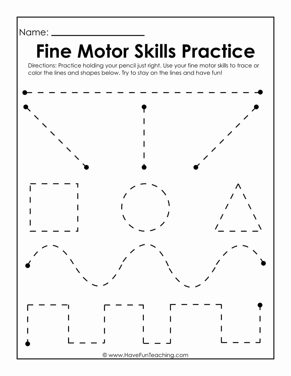 Fine Motor Worksheets for Preschoolers Unique Fine Motor Skills Practice Worksheet
