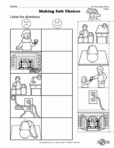 Fire Safety Worksheets for Preschoolers Fresh Science Worksheet Fire Safety the Mailbox