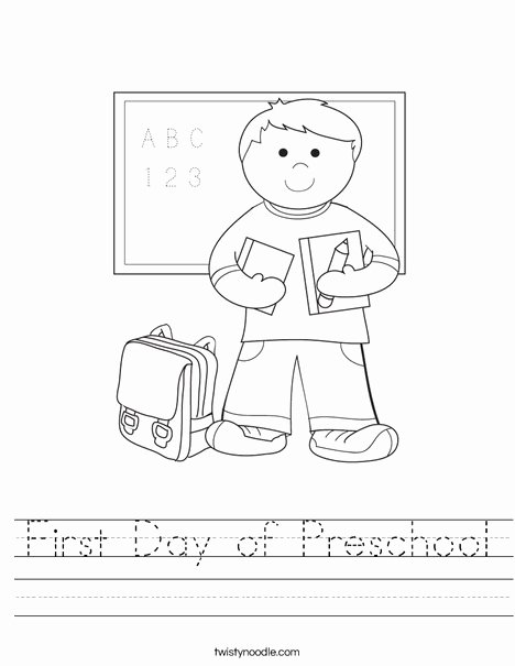 First Day Of School Worksheets for Preschoolers Awesome First Day Of Preschool Worksheet Twisty Noodle