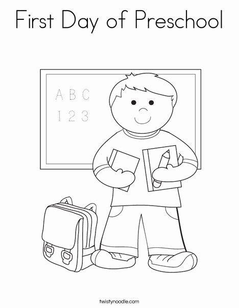 First Day Of School Worksheets for Preschoolers Beautiful First Day Of Preschool Coloring Page