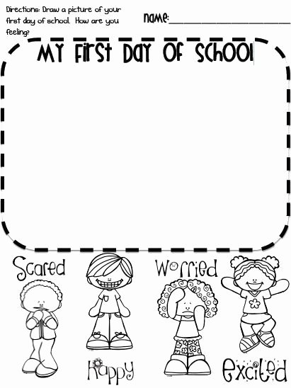 First Day Of School Worksheets for Preschoolers Unique Pin On First Day School
