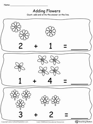 Flowers Worksheets for Preschoolers Inspirational Worksheet Adding Numbers with Flowers Sums to Preschool