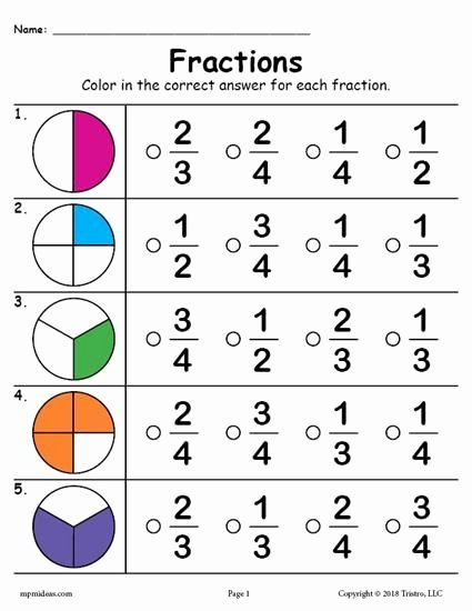 Fraction Worksheets for Preschoolers Awesome Printable Fractions Worksheet
