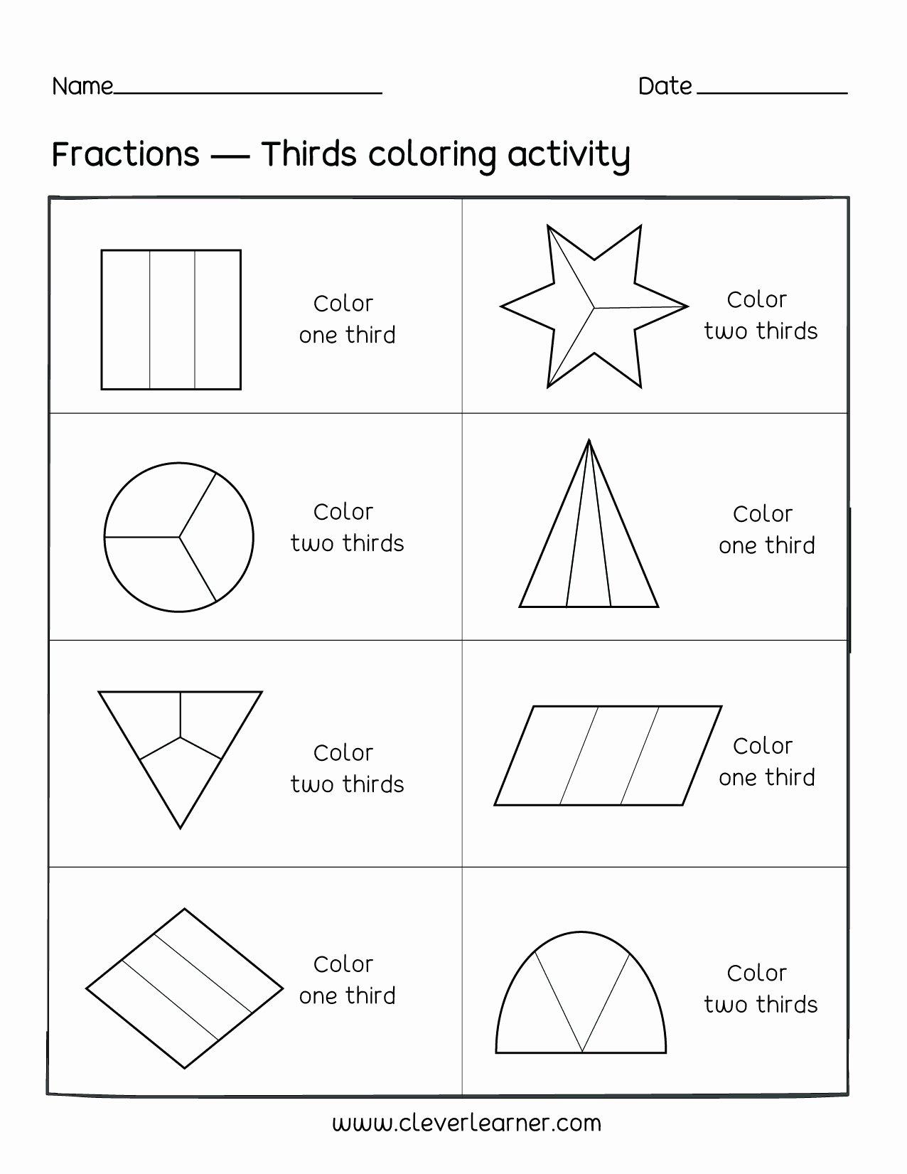 Fraction Worksheets for Preschoolers Beautiful Fractionng Sheets Thirds Fractions Worksheets Fun Activity