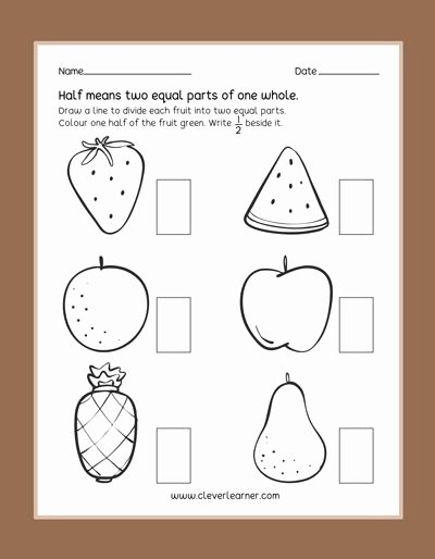 Fraction Worksheets for Preschoolers Beautiful Fun Practice Preschool Worksheets On Half Fractions Half