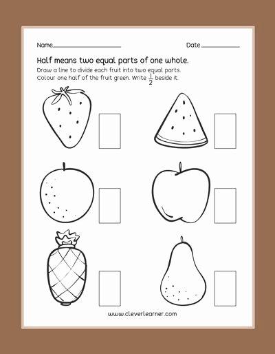 Fraction Worksheets for Preschoolers Beautiful Fun Practice Preschool Worksheets On Half Fractions Half
