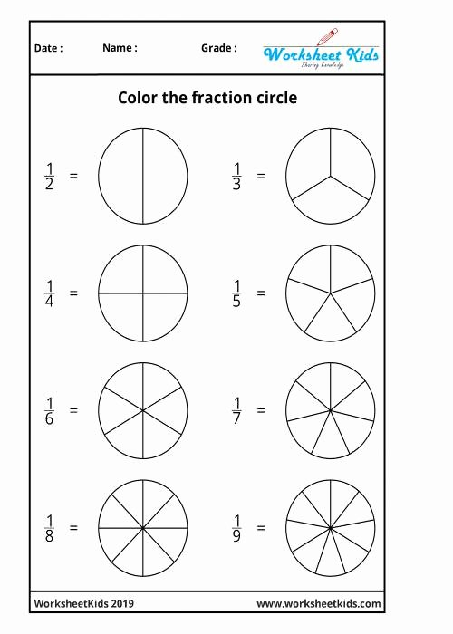 Fraction Worksheets for Preschoolers Lovely Fraction Circles Coloring Printable Worksheets Free Pdf