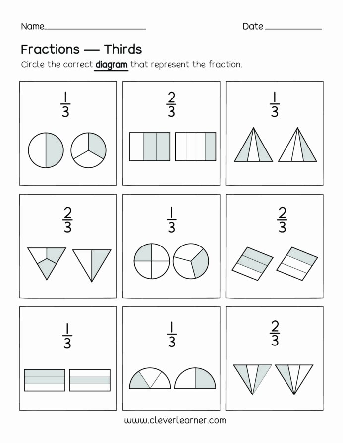 Fraction Worksheets for Preschoolers Lovely Fun Activity Fractions Thirds Worksheets for Children