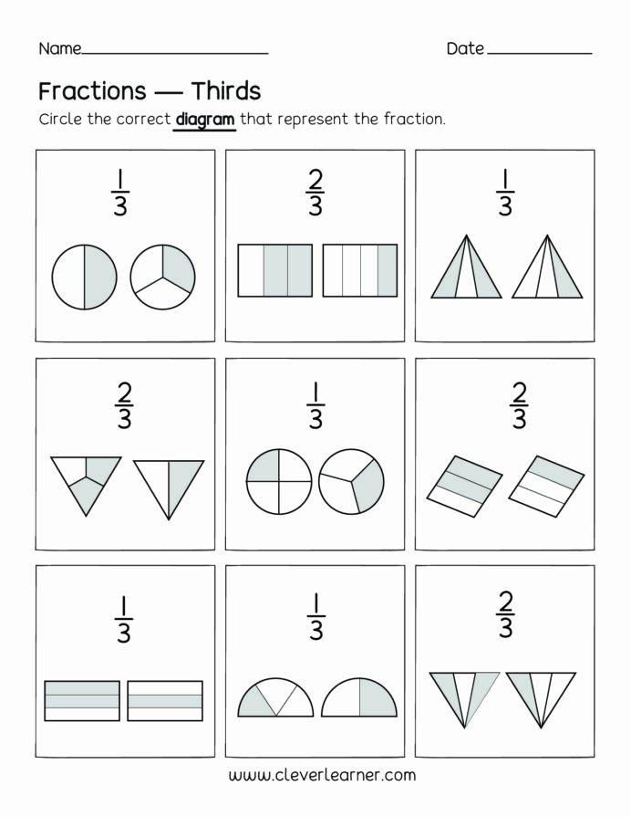 Fraction Worksheets for Preschoolers Lovely Fun Activity Fractions Thirds Worksheets for Children