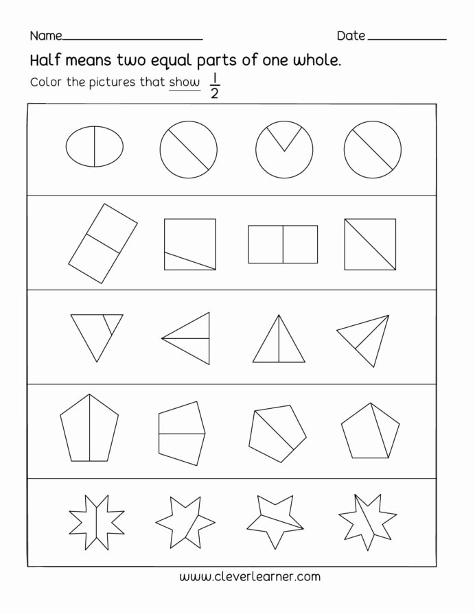 Fraction Worksheets for Preschoolers New Fun Activity Fractions Half Worksheets for Children