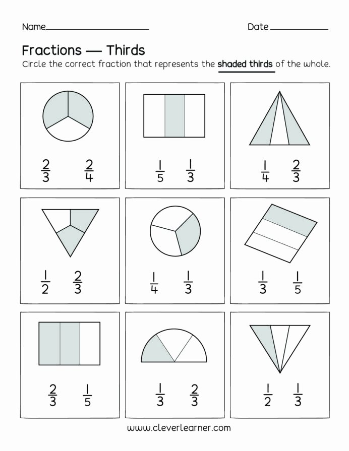 Fraction Worksheets for Preschoolers top Fun Activity Fractions Thirds Worksheets for Children