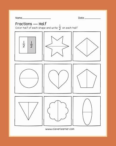 Fraction Worksheets for Preschoolers top Preschool Fractions Activities Learning About Halves Half