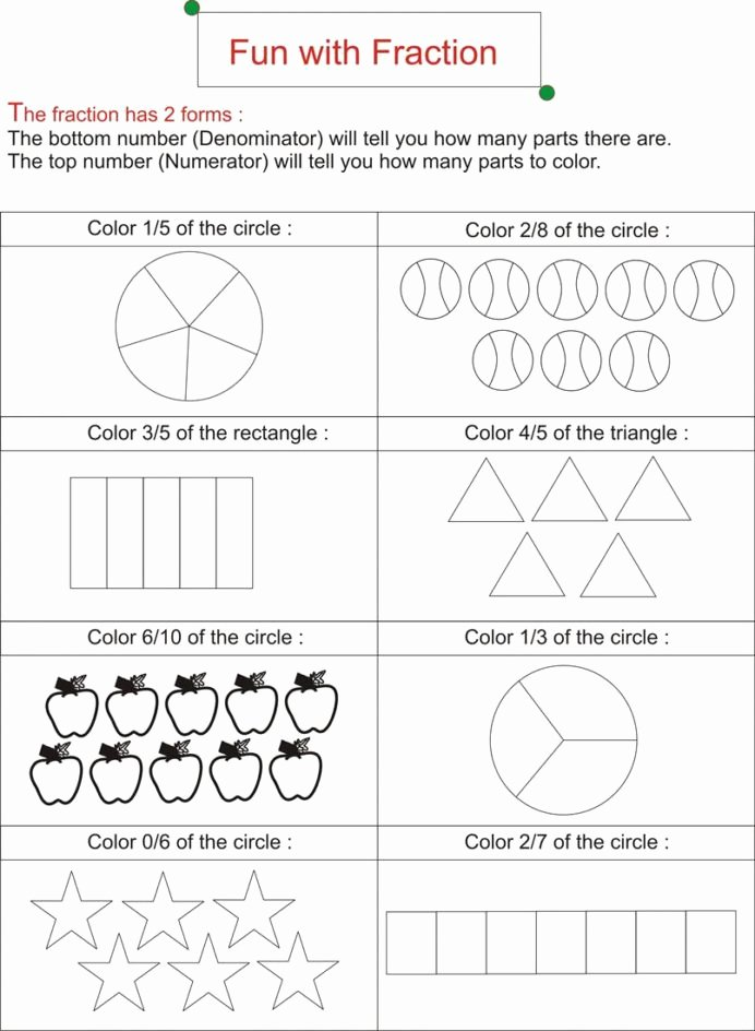 Fraction Worksheets for Preschoolers Unique Fraction is Fun Worksheets Free Ks2 Math Addition Sheets for