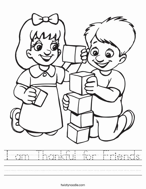 Friendship Worksheets for Preschoolers Unique I Am Thankful for Friends Worksheet Twisty Noodle