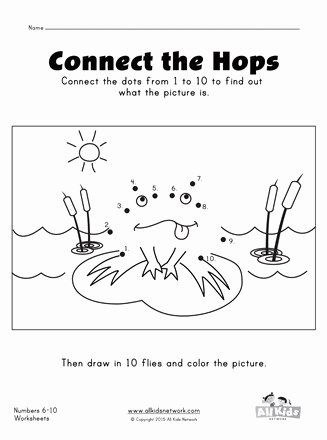 Frog Worksheets for Preschoolers Awesome Connect the Dots Frog Numbers 1 10 Worksheet