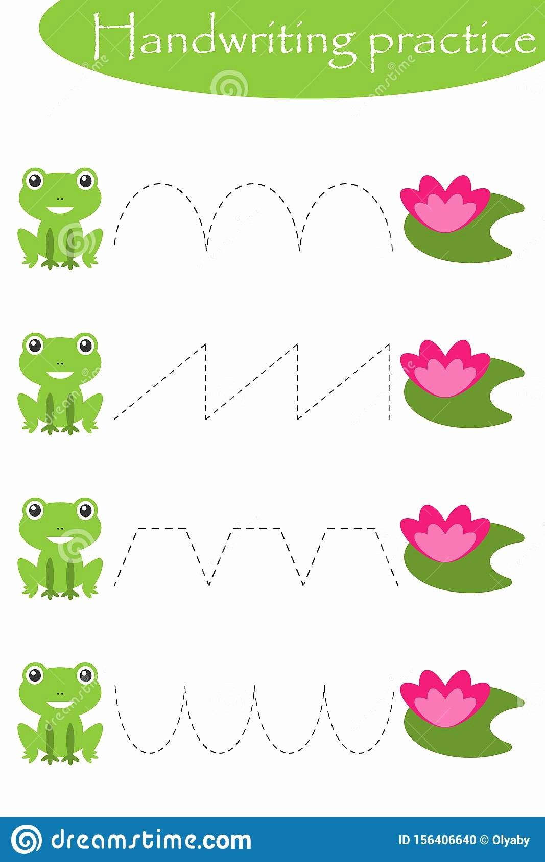 Frog Worksheets for Preschoolers Beautiful Frogs and Water Lilies Handwriting Practice Sheet Kids