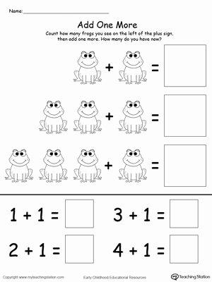 Frog Worksheets for Preschoolers Unique Add E More Frog Addition